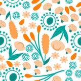 Oranje bloemen en pastelkleur groene bladeren, herhaald patroon vector illustratie
