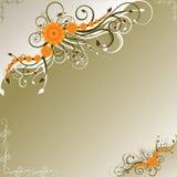 Oranje bloemen met donkergroene wervelingen Stock Afbeeldingen