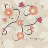 Oranje bloemenprentbriefkaar Royalty-vrije Stock Afbeelding