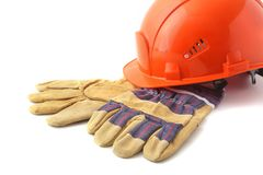 Oranje bouwvakker, veiligheidshandschoenen op witte achtergrond 3d illustratie op witte achtergrond Stock Foto