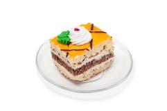 Oranje cake op plaat Royalty-vrije Stock Fotografie