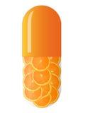Oranje capsule met sinaasappelen Stock Afbeeldingen
