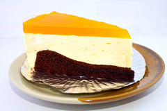 Oranje chocoladecake stock foto's