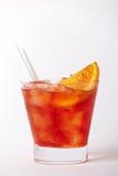 Oranje cocktaildrank met citroen en kers Royalty-vrije Stock Afbeelding