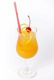 Oranje cocktaildrank met citroen en kers Stock Foto