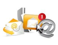 oranje contacteer ons pictogrammen grafisch concept Stock Fotografie