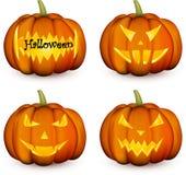 Oranje 3d Halloween-geplaatste pompoenen vector illustratie