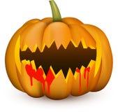 Oranje 3d Halloween-pompoen op wit Stock Afbeeldingen