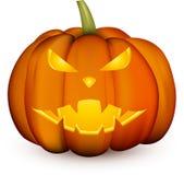 Oranje 3d Halloween-pompoen op wit royalty-vrije illustratie