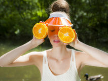 Oranje Dame Stock Foto