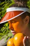 Oranje Dame Stock Foto's