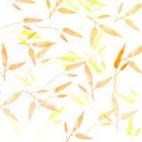Oranje de herfstachtergrond met bladerenpatroon Royalty-vrije Stock Foto's