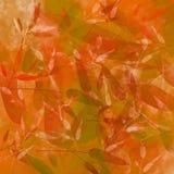 Oranje de herfstachtergrond met bladerenpatroon Stock Afbeelding