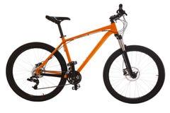 Oranje die bergfiets op witte achtergrond wordt geïsoleerd Stock Foto