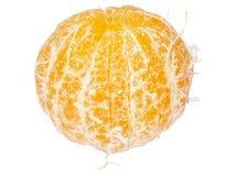 Oranje die binnenkant op een witte achtergrond wordt gepeld Stock Afbeeldingen