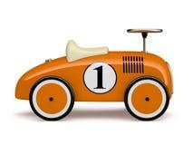 Oranje die retro stuk speelgoed auto nummer één op witte achtergrond wordt geïsoleerd Stock Foto
