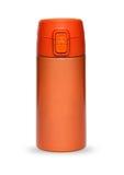 Oranje die thermosflesseninzameling op witte achtergrond wordt geïsoleerd Stock Foto