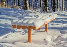 Oranje die tuinbank met pluizige sneeuw wordt behandeld Royalty-vrije Stock Foto's