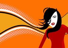 Oranje discomeisje Stock Fotografie