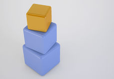 Oranje doos bij bovenkant die leidersconcept tonen Royalty-vrije Stock Foto