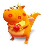 Oranje draak met rode hart en kussen Stock Fotografie
