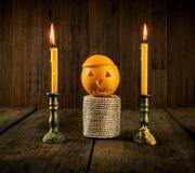 Oranje Duivel Halloween met kaars Royalty-vrije Stock Foto