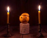 Oranje Duivel Halloween met kaars Royalty-vrije Stock Foto's