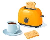 Oranje elektrische broodrooster met een plak die van geroosterd brood, zich naast een koffiekop bevinden Royalty-vrije Stock Afbeelding