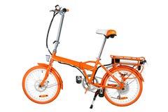 Oranje elektrische fiets stock afbeelding