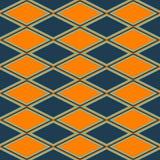 Oranje en blauw abstract patroon met ruit Stock Afbeelding