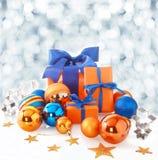 Oranje en blauwe Kerstmisachtergrond Stock Foto