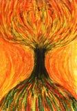 Oranje en gele boom. Het beeld van de kunst Stock Foto