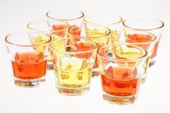 Oranje en gele dranken Stock Fotografie