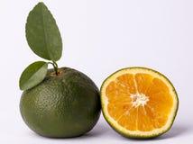 Oranje en gesneden sinaasappel Royalty-vrije Stock Afbeelding