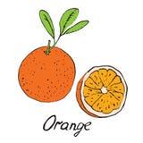 Oranje en gesneden stuk Stock Foto's