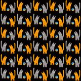 Oranje en grijze katten met een bal, vector naadloos patroon, een concepten vectorillustratie stock illustratie