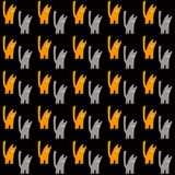 Oranje en grijze katten, vector naadloos patroon, een concepten vectorillustratie stock illustratie