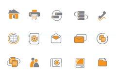Oranje en grijze pictogramreeks Royalty-vrije Stock Foto's
