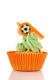 Oranje en groene cupcake Stock Foto