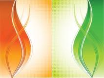 Oranje en groene krommenachtergrond Royalty-vrije Stock Afbeeldingen