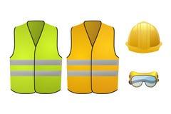 Oranje en groene veiligheidsvesten De apparatuur van de veiligheid Glazen en helm Vector illustratie die op witte achtergrond wor Stock Foto's