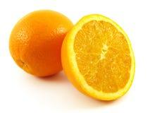 Oranje en half fruit royalty-vrije stock foto's