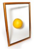 Oranje en houten frame Stock Fotografie