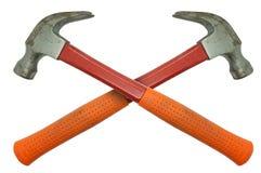 Oranje en rode metaalhamer Stock Fotografie