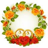Oranje en rood nam cirkelframe toe Royalty-vrije Stock Fotografie