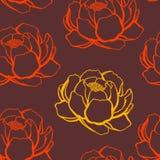 Oranje en rood nam, naadloos patroon toe Stock Afbeelding