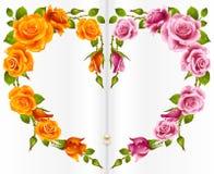 Oranje en roze nam frame in de vorm van hart toe Royalty-vrije Stock Afbeeldingen
