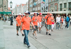 Oranje fans. Gdansk, Poland - 10 June, 2012 - Oranje football fans on the streets of Gdansk, before the match group with Spain-Italy Stock Images
