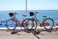 Oranje fietsen in Nice Frankrijk Stock Foto
