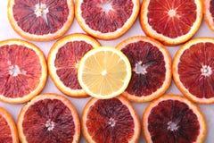 Oranje Fruit Achtergrond met Sinaasappel en citroenplak op witte achtergrond Hoogste mening Royalty-vrije Stock Afbeeldingen